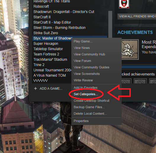 Setting categories in your Steam Library.