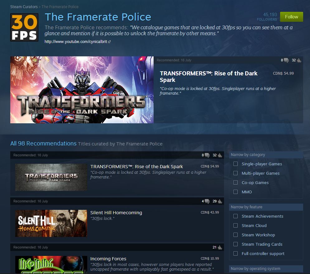 Screenshot of the Framerate Police Steam page. Via NeoGAF.