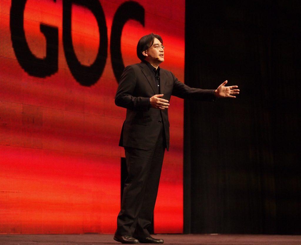 Satoru Iwata, speaking at GDC in 2011.
