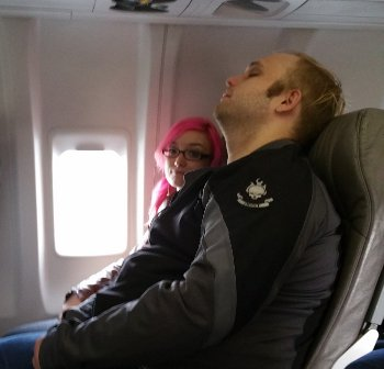 Out like a baby before we even left the tarmac.