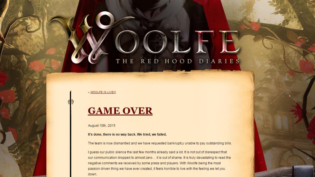 Screenshot of the Woolfe post-mortem.