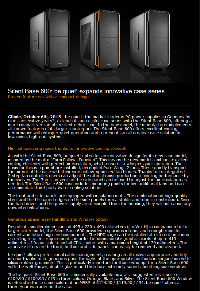 be quiet! Expands Their Innovative Case Series – All Your Base Online