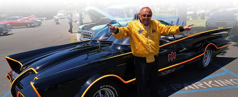 George Barris, with Batmobile #01 (1966)