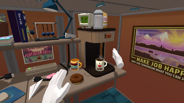 Job simulator allows you to explore and experiment in a densely packed scene (and lets you live out your fantasy of throwing a rotten doughnut at the annoying coworker 2 cubicles over).